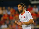 Switzerland's Ricardo Rodriguez celebrates scoring their first goal during their international friendly with Spain on June 3, 2018