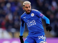 Riyad Mahrez in action for Leicester City on March 18, 2018