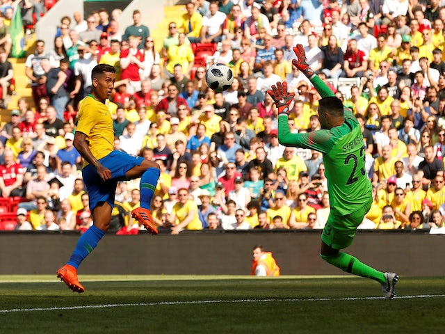 Liverpool and Brazil forward Roberto Firmino in action during the World Cup warm-up match against Croatia at Anfield on June 3, 2018