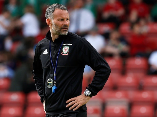 Wales manager Ryan Giggs watches on during training in May 2018