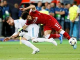 Sergio Ramos takes out Mohamed Salah during the Champions League final between Real Madrid and Liverpool on May 26, 2018