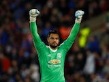 Manchester United goalkeeper Sergio Romero in action during his side's FA Cup fifth round clash with Huddersfield Town on February 17, 2018