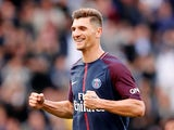 Paris Saint-Germain defender Thomas Meunier in action during his side's Ligue 1 clash with Bordeaux in September 2017