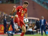 Belgium defender Thomas Meunier in action during his side's international friendly with Portugal on June 2, 2018