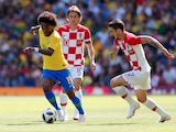 Brazil forward Willian runs with the ball during the World Cup warm-up match against Croatia at Anfield on June 3, 2018