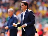 Croatia coach Zlatko Dalic watches on during his side's international friendly with Brazil at Anfield on June 3, 2018