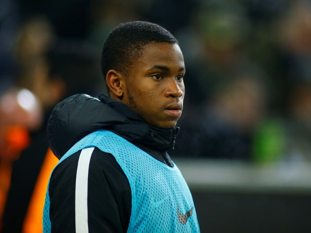 RB Leipzig's Ademola Lookman watches on from the sideline in the game against Borussia Monchengladbach on February 3, 2018