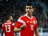 Russia's Alan Dzagoev in action during an international friendly in November 2017
