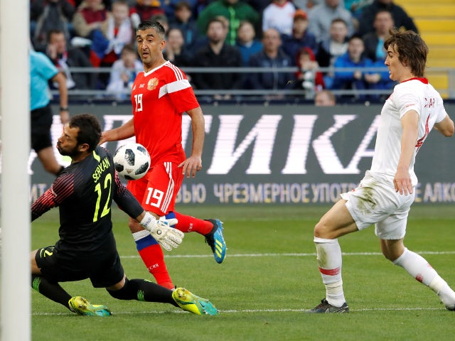 Russia's Aleksandr Samedov scores their first goal against Turkey on June 5, 2018