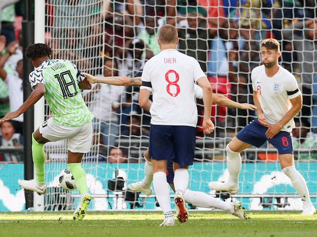 Nigeria's Alex Iwobi scores during his side's international friendly with England at Wembley on June 2018