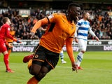 Wolverhampton Wanderers' Alfred N'Diaye celebrates scoring their first goal on February 10, 2018