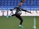 Leicester City's Ben Hamer during the warm up before the match against Southampton on April 19, 2018