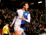 Blackburn Rovers' Bradley Dack celebrates scoring their first goal against Peterborough United on April 19, 2018