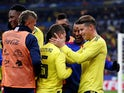Colombia's Juan Quintero celebrates scoring their third goal from the penalty spot with teammates during an international friendly with France in March 2018