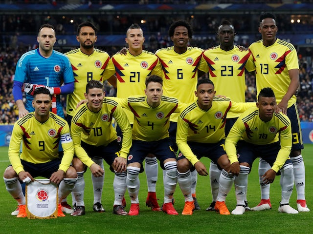 567c7186ba1 The Colombian team lines up prior to their international friendly with  France in March 2018