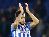 Brighton & Hove Albion's Connor Goldson applauds the fans after the match against Watford on December 23, 2017