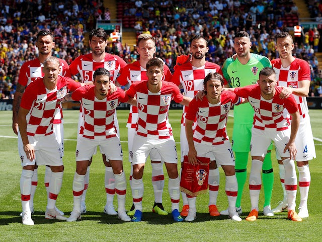 The Croatian team line up ahead of their international friendly with Brazil at Anfield on June 3, 2018