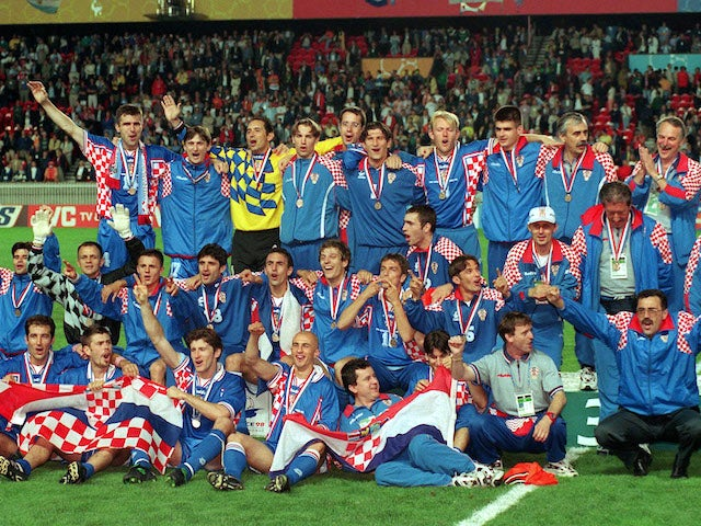 Croatia players celebrate after finishing third at the 1998 World Cup
