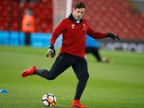 Liverpool's Danny Ward warms up on January 5, 2018