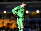 Birmingham City's David Stockdale looks dejected after Wolverhampton Wanderers score their first goal on December 4, 2017