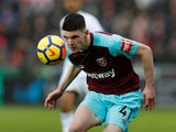 West Ham United's Declan Rice in action against Swansea City on March 3, 2018