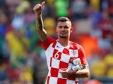 Croatia's Dejan Lovren gestures at the end of the match against Brazil on June 3, 2018