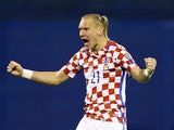 Croatia's Domagoj Vida celebrates after the match against Ukraine on March 24, 2017