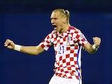 Croatia's Domagoj Vida celebrates after the match against Ukraine on March 24, 2017