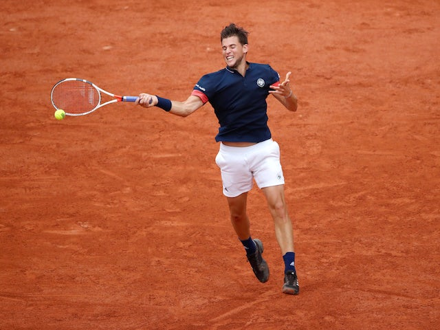 Dominic Thiem in action at the French Open on June 5, 2018