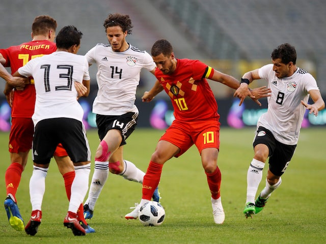 Belgium winger Eden Hazard in action during his side's World Cup warm-up match against Egypt in June 2018