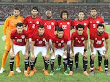 The Egyptian team lines up ahead of their international friendly with Kuwait in May 2018