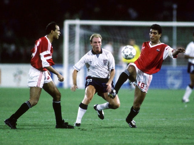 Egypt in action against England at the 1990 World Cup