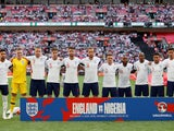 The England team lines up ahead of their international friendly with Nigeria in June 2018