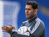 Real Madrid's assistant coach Fernando Hierro during training on August 11, 2014