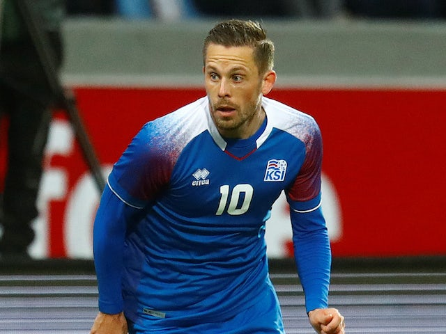Iceland midfielder Gylfi Sigurdsson in action during his side's international friendly with Norway on June 2, 2018