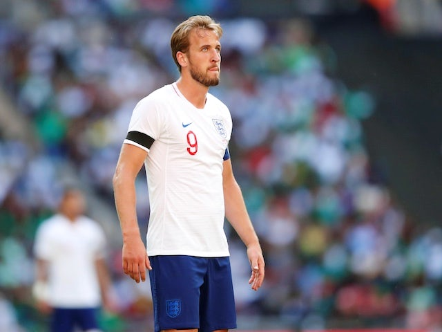 England striker Harry Kane in action during his side's international friendly with Nigeria at Wembley on June 2, 2018