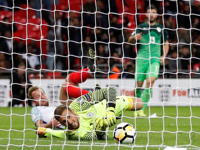 Harry Kane scores the goal which sees England qualify for the 2018 World Cup courtesy of a 1-0 win over Slovenia on October 5, 2017
