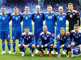 The Iceland team lines up prior to their international friendly with Norway in June 2018