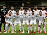 The Iran team lines up ahead of their World Cup warm-up game against Turkey in May 2018
