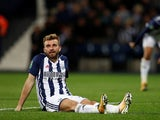 James Morrison looking dejected while playing for West Bromwich Albion in the EFL Cup on September 20, 2017