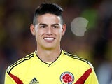 James Rodriguez in action for Colombia on May 26, 2018