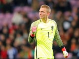Netherlands' Jasper Cillessen celebrates during a friendly against Portugal on March 26, 2018
