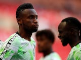 Nigeria's John Obi Mikel warms up ahead of his side's international friendly with England at Wembley on June 2, 2018