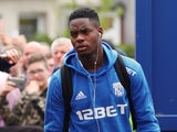 West Bromwich Albion's Jonathan Leko arrives at the stadium before the match against Crystal Palace on May 13, 2018