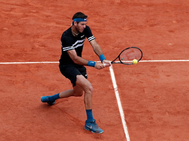 Juan Martin del Potro in action during his French Open quarter-final match on June 7, 2018