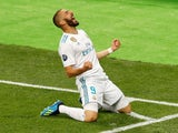 Real Madrid's Karim Benzema celebrates scoring their first goal in the Champions League final against Liverpool on May 26, 2018