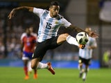 Manuel Lanzini in action for Argentina on May 28, 2018