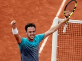 Italy's Marco Cecchinato celebrates winning his French Open quarter-final match against Serbia's Novak Djokovic on June 5, 2018