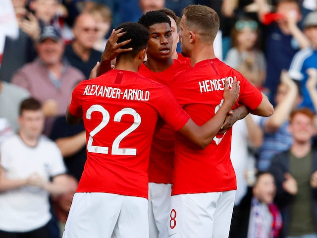 Marcus Rashford celebrates scoring during the friendly game between England and Costa Rica on June 7, 2018
