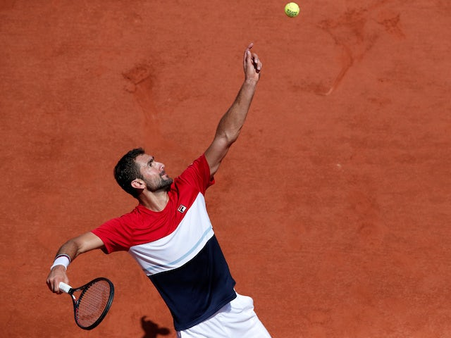 Marin Cilic in action during his French Open quarter-final match on June 7, 2018